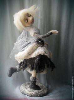 """Кукла из шерсти """" В вихре снежного вальса"""" - белый,зима,Снегопад,танец"""