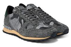 1b1f712c7f41 Valentino Rockrunner Camo-Print Felt Sneakers