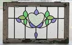 Pair of Antique Stained Glass Windows Four Color Fantastic Hearts Ivy Floret