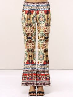 Retro Style Elastic Waist Totem Print Pants For Women