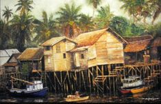 RUMAH PANGGUNG (House beside the river) oil on canvas 120x150cm by artist Daniel de Quelyu. Surabaya- Indonesia