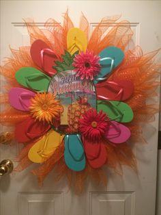 """My latest """"Hello Summer"""" flip flop wreath."""