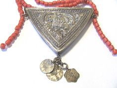Vintage North African silver amulet coral glass necklace