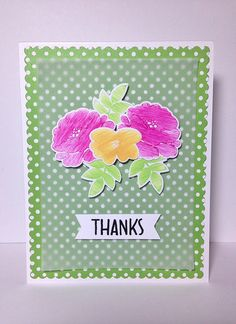 CAS Floral Thank You Card   Flickr - Photo Sharing! Fun stamping technique I saw on Jennifer McGuire's YouTube channel.    Avery Elle: Petals & Stems, Hero Arts: Thanks A Bunch, Lawn Fawn: Let's Polka.
