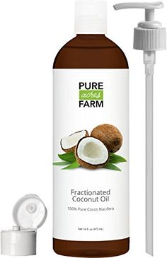 Fractionated Coconut Oil (Liquid) - Large - WITH PUMP FREE Recipe eBook! - Use with Essential Oils and Aromatherapy as a Carrier and Base oil - Add to Roll-On Bottles for Easy Application >>> Check this awesome image : lemon essential oil Unrefined Coconut Oil, Fractionated Coconut Oil, Organic Coconut Oil, Coconut Oil For Face, Coconut Oil Uses, Bug Spray Recipe, Organic Tea Tree Oil, Homemade Body Butter, Roll On Bottles