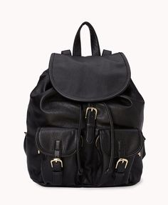 Faux Leather Backpack | FOREVER21 ? #FauxLeather #Accessories #Essentials #Bag #Buckles