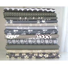 Shades of Grey II  Fat Quarter Fabric Bundle by LARKcottons, $30.00