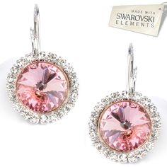 Štrasové náušnice s kryštálmi Swarovski Elements RIVOLI Light Rose Divine  Jewellery eshop 6877b1d8fb7