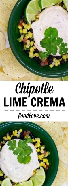 Chipotle lime crema adds creamy spicy citrusy goodness to tacos burritos enchiladas salads and all kinds of Mexican or Southwest recipes. Vegetarian Mexican Recipes, Authentic Mexican Recipes, Spicy Recipes, Beef Recipes, Chicken Recipes, Cooking Recipes, Easy Recipes, Vegan Recipes, Cream Recipes