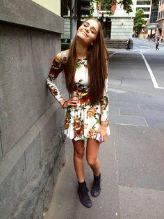 floral print dress. long hair. LADIES StreetStyle, Women's Fashion. #offduty