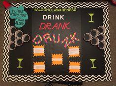Alcohol Awareness bulletin board. Jacksonville State University Peer Educators.