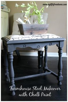 Using chalk paint to redo a thrift store stool.  Step by step tutorial.  Farmhouse Stool Makeover with Chalk Paint by www.mylifefromhome.com