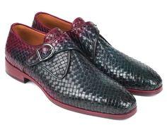 Paul Parkman Purple & Green Woven Leather Single Monkstraps (ID Black Suede Loafers, Loafers Men, Leather Shoes, Blue Shoes, Men's Shoes, Shoes Men, Dress Shoes, Coronado Leather, Mens Designer Loafers