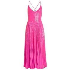 Women's Topshop Sequin Pleated Dress (€230) ❤ liked on Polyvore featuring dresses, party dresses, pink midi dress, sequin party dresses, night out dresses and midi dress