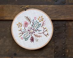 Botanical Embroidery Hoop Art - Stitched Art - 5 Inch Hoop - Boho Wall Art - Plants Flowers Sticks - Autumn Decor - Rustic