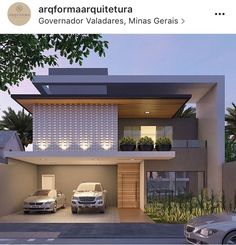 Image may contain: tree, house and outdoor Villa Design, Facade Design, Exterior Design, House Front Design, Modern House Design, Residential Architecture, Architecture Design, House Elevation, Facade House