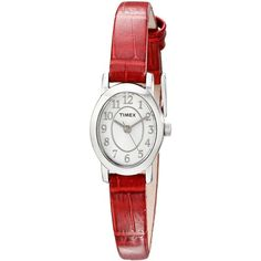 Timex Cavatina Analog Display Analog Quartz Red Watch ($27) ❤ liked on Polyvore featuring jewelry, watches, red watches, quartz movement watches, quartz wrist watch, timex wrist watch and timex