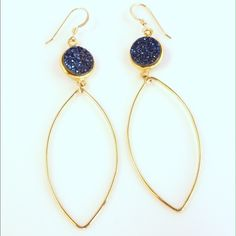 Druzy earrings These Druzy agate earrings are set in 14 k gold filled bezel with 14k gold filled dangles. They are stunning and come here in gorgeous blue or purple. More colors available at www.monicamauro.com Monica Mauro Jewelry Earrings