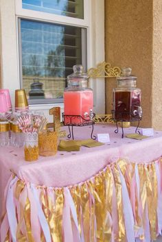 Pink and Gold Birthday Party Ideas Pink Gold Party, Pink And Gold Birthday Party, Golden Birthday, Baby Girl First Birthday, Birthday Fun, First Birthday Parties, First Birthdays, Birthday Ideas, Birthday Signs