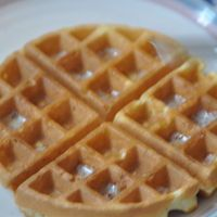These waffles have no yeast, so no wait time is required.  I still like the Belgium waffles made with yeast better.  Deluxe Belgian Waffles by Katy