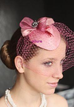PINK FASCINATOR Kentucky Fascinator Coctail Hat, Wedding hat, Rose Birdcage veil.