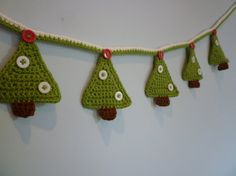 Hand Crochet Christmas tree bunting. by HennyPennysHandmade