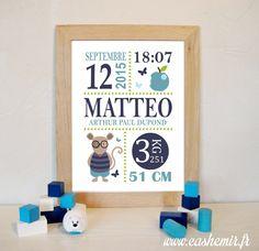 Cadeau naissance, stats de naissance, décoration chambre bébé garçon - Fichier Imprimable - n°12 souris pomme : Décoration pour enfants par cashemir