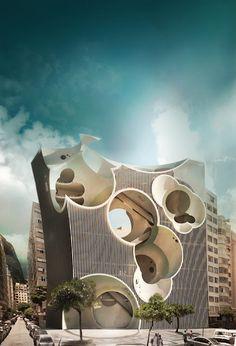 Copacabana Fitness Club in Rio de Janeiro - exterior rendering Unusual Buildings, Interesting Buildings, Amazing Buildings, Modern Buildings, Architecture Design, Futuristic Architecture, Beautiful Architecture, Contemporary Architecture, Innovative Architecture
