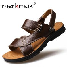 1a06650fb27ce1 Merkmak 2017 New Summer Men Beach Sandals Genuine Leather Casual Shoes  Vacation Slippers Mens Comfort Soft Flat Sandal Shoes