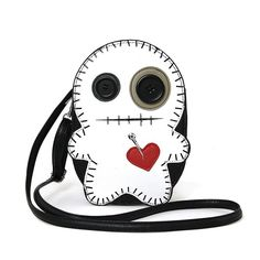 """Cute Little Spooky White Stitched Voodoo Doll Cross Body Bag Purse! Stitched all round and at the mouth. Cute button eyes. Has a heart with a pin or needle on it. Quality vinyl material. 24"""" inches de"""