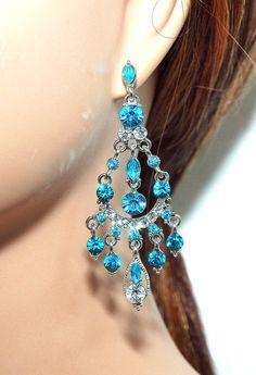 Tiffany blue chandelier earrings
