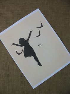 Set of Two Children Prints Girl Silhouette Bird by VintageJaneToo,
