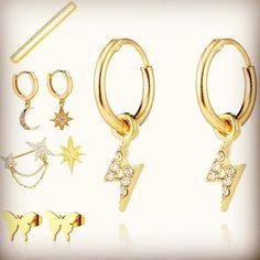 Cool summer earrings and cuffs! #daintyjewelry #cuffearrings #earbar #summer2020 #summertrends #goldjewelry Dainty Jewelry, Gold Jewelry, Ear Bar, Cuff Earrings, Bra Straps, Summer Trends, Cuffs, Bracelets, Stud Earrings