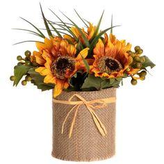 Sunflower & Burlap Floral Arrangement