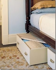 Make under the bed rolling drawers fitted with snap-on covers to keep dust at bay. Maybe make wicker baskets with virtually hidden wheels. Could use them as shoe storage. under bed storage drawer space diy Under Bed Drawers, Old Drawers, Under Bed Storage, Diy Storage, Storage Spaces, Rolling Drawers, Dresser Drawers, Clothes Storage, Storage Boxes