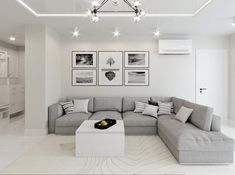 White & Grey Interior Design In The Modern Minimalist Style If you love the look of beautifully smooth grey and white interiors as we do, then this is a great set of inspirational home designs for you. Ranging from a dar Living Room White, White Rooms, Rugs In Living Room, Small Living, Cozy Living, Room Rugs, Home Design Living Room, Living Room Interior, Design Bedroom