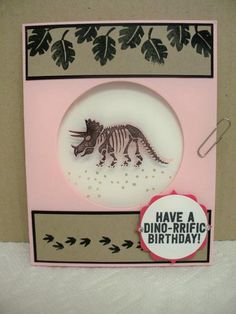 handmade card ... No Bones About It by D. Daisy ... dinosaur stamped on acetate sheet in open circle  with inside showing through ... Stampin' Up!