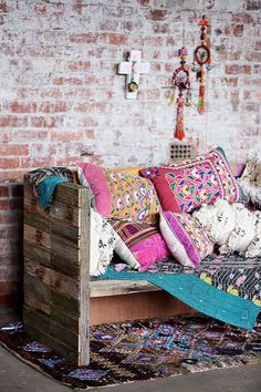 Mix exciting patterns, embroidered cushions and bright shades to spice things up around the house! Get creative and fun with interior to create this bohemian Moroccan vibe... #MoroccanDecor
