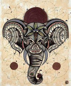 Spirit Elephant by Tanglefire on Etsy, $35.00 #elephant #art