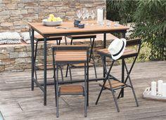 Salon de jardin 6 places en résine tressée grise : table ...