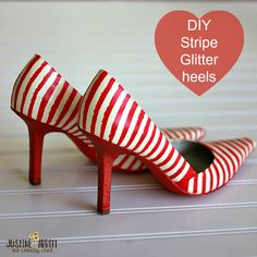 DIY Striped Heels with paint, glitter, & #modpodge #diyshoes #plaidcrafts