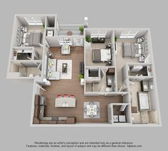 The Pointe at Bentonville | 3 Bedroom 3 Bath Bentley floor plan