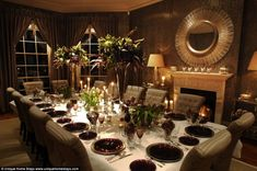 Formal affair: Those spending Christmas at the home will be sitting round this fabulous 14-seater dining table, set in one of the more elabo...