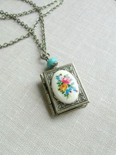 Cameo locket necklace book locket flowers cottage by BotanicalBird