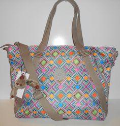 NEW NWT KIPLING Fleur Tote Crossbody Bag Geometric Ember Print Strap + Handles  #Kipling #TotesShoppers