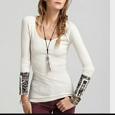 Free People Hyperactive Hippie Cuff Free People Thermal Ivory Hyperactive Hippie Cuff Long sleeved thermal with beautiful detailed cuffs Cuffs also button & un-button  Excellent condition Free People Tops Tees - Long Sleeve