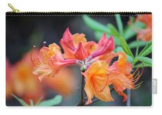 Flower Carry-all Pouch featuring the photograph Pink And Peach Wild Azaleas by Cynthia Guinn