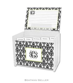 Madison Damask White with Black Personalized Lucite Recipe Boxes from Boatman Geller