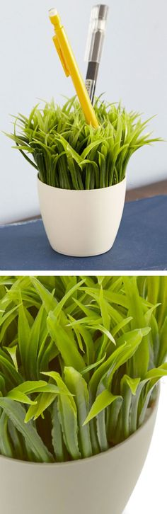 Green grass desk organizer - a fun pen and stationary holder! #product_design
