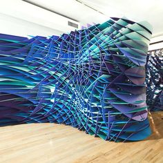 Parametric interior divider - dark teal, purple, and blue - creative temporary wall
